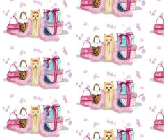 Chloe must have for dress.    Yorkie and Her Purses fabric by greerdesign on Spoonflower - custom fabric