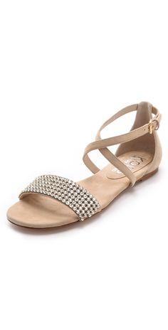 c32c89eb32287 KORS Michael Kors Adia Jeweled Flat Sandals