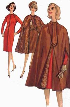 CLEARANCE SALE 1960s Wiggle Dress, Ascot, and Reversible Cape Simplicity 5674 Vintage Womens MOD 60s Sewing Pattern  Size 16 Bust 36 by sandritocat on Etsy