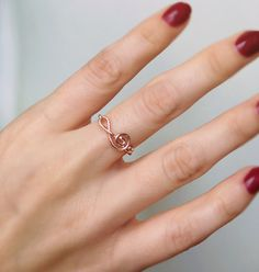Sideways Treble Clef Rose Gold Ring Wire ring Treble by BexBea