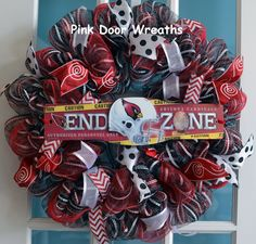 cardinals  football center pieces | Wreath ARIZONA CARDINALS NFL Football Red by PinkDoorWreaths
