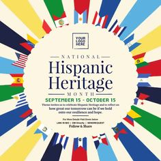 Customize this design with your video, photos and text. Easy to use online tools with thousands of stock photos, clipart and effects. Free downloads, great for printing and sharing online. Instagram Post. Tags: hispanic heritage 2021, hispanic heritage month, hispanic heritage month 2021, hispanic heritage month post template, hispanic heritage month theme, Memorial Day, Remembrance Day , Memorial Day Social Media Pages, Social Media Graphics, Remembrance Day Posters, Hispanic Heritage Month, Poster Templates, Share Online, Poster Designs, Beautiful Posters, Free Downloads