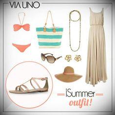 ¡Vestido largo, sombrero moderno y accesorios que combinan con el calzado!