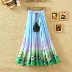 Chiffon Bohemian Skirts Summer Party Harajuku Print Vintage Flower Ethnic Boho Long Maxi Skirt Beach Clothes
