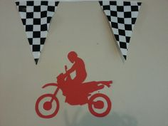 Motocross Birthday Party -- Decorate with Dirt Bike Cutouts and Checkered Flags Motocross Birthday Party, Bike Birthday Parties, Dirt Bike Birthday, Birthday Ideas, Dirt Bike Party, Winnie The Pooh Friends, Mickey Mouse Clubhouse, Third Birthday, Party Themes