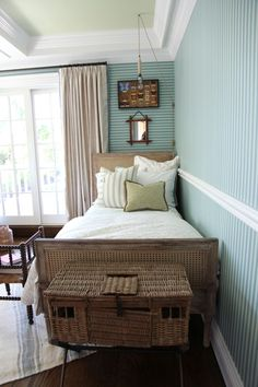 House of Turquoise: Tammy Connor Interior Design  I love how they turned the wall paper so the stripes are in the horizontal on one wall.