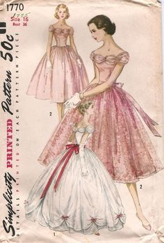 OMG Look at the wedding one on bottom, right up your alley! @Jaime Simplicity 1770; ©1956; Junior Misses' and Misses' Evening Dress in Two Lengths with Deta: