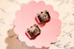 Tiny Silver color Camera stud Earrings