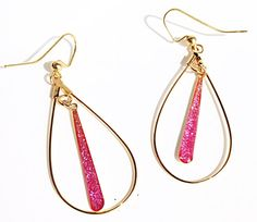 Gold tear drop with pink glitter drop pendant by MercuryShine
