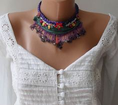 Purple Green and Pink Necklace Special Design by SwedishShop