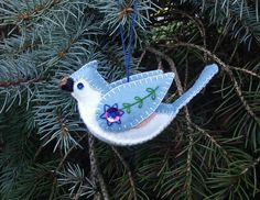 White and Blue Wool Felt Dove Ornament, Wool Felt Bird Ornament, Embroidered Bird, Hanukkah Decoration Felt Crafts Patterns, Christmas Embroidery Patterns, Wool Applique Patterns, Bird Christmas Ornaments, Felt Ornaments, Christmas Crafts, Hanukkah Decorations, Embroidered Bird, Needle Felted