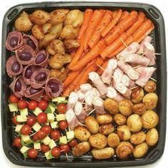 Order food for parties and entertaining Roasted Baby Potatoes, Honey Roasted Carrots, Ham Rolls, Order Food, Cooking Recipes, Cheese, Olives, Platter, Sticks