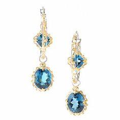 "Gems en Vogue II 2"" 14.54ctw London Blue Topaz Drop Hoop Earrings"
