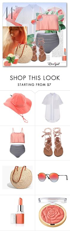 """""""Striped High Waisted Ruffle Bikini Set(Win $20 cash by PayPal)"""" by astromeria ❤ liked on Polyvore featuring Columbia, 3.1 Phillip Lim, Olsen, Madewell, Ray-Ban, Clinique and Milani"""