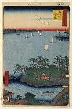 <名所江戸百景 品川すさき : SHINAGAWA SUSAKI> SUSAKI AND SHINAGAWA HIROSHIGE UTAGAWA 1797-1858 Last of Edo Period