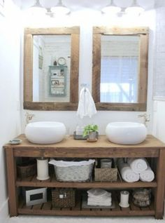 rustic master bathroom - the space between rustic bathroom vanity and mirrors - so many great details that feel like fall Rustic Master Bathroom, Rustic Bathroom Vanities, Rustic Bathrooms, Wood Bathroom, Bathroom Furniture, Diy Furniture, Bathroom Ideas, Design Bathroom, Ikea Bathroom
