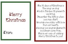 12 Days Days of Christmas Gifts/Sayings #2 (so cute!)