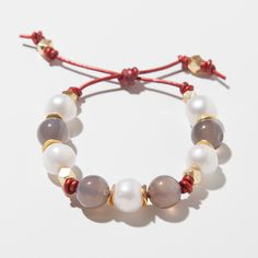 14mm Agate 14mm AAA quality freshwater pearls Vermeil disc spacers and nuggets Red 1.5mm metallic Leather Adjustable