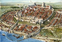 Papertowns is dedicated to well-crafted pictorial maps, detailed panoramic cityscapes, broad aerial vistas, intricate bird's-eye views, even full. Fantasy City Map, Fantasy World Map, Fantasy Town, Fantasy Castle, Fantasy Places, Medieval Life, Medieval Castle, Medieval Fantasy, Castle Layout