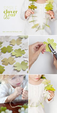 Use flower punch, glue together, punch middle hole, string adding knots before & after each flower.