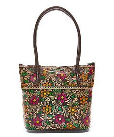 Look what I found on #zulily! Black Floral Hand-Painted Leather Tote #zulilyfinds