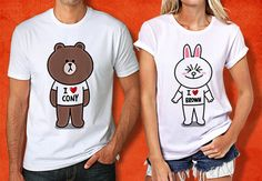 Brown and Cony Line Character Couple Tshirt  Brown and by PHIROES