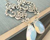 Opal glass silver earrings - Eden's Gate - Elysia