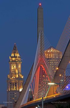 Zakim Bridge, Boston Custom House at twilight, Boston MA: http://visitingnewengland.com/boston-landmark-photography.html