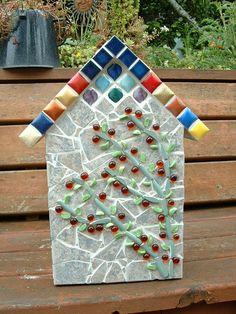 Large mosaic Birdhouse (back view) picturing a Climbing Rosebush  ~~~Mosaic by Diane Erickson~~~