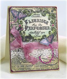 Vintage Butterflies card designed by Debbie Olson using Fleuriste Newsprint Background Stamp and Classic Lace Edges Two