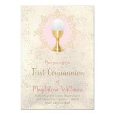 First Communion catholic girl Invitation   Zazzle.com