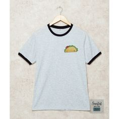 Tacos Shirt Tacos Pocket Ringer Shirts Teen Tshirt Grey Tee Size S M L... ($15) ❤ liked on Polyvore featuring tops, t-shirts, cotton shirts, grey t shirt, gray pocket tee, grey shirt and grey pocket tee