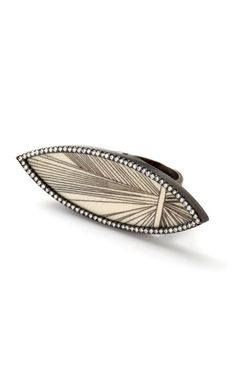 Hand-Carved Scrimshaw Navette Muyal Ring by Monique Pean • via Moda Operandi
