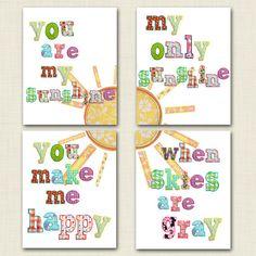 You are my sunshine 11x14 wall art set- rainbow- nursery prints- playroom wall art set- big girl room