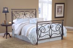 Hillsdale 1643BFR Brady Bed Set Full with 4 Leg Bed Frame Antique Bronze