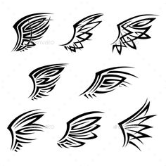 Black Tribal Tattoo Wings With Decorative Feathers - Tattoos Vectors