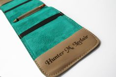 Image of Handcrafted Leather Golf Scorecard Holder (Any color). Three Custom Engravings.