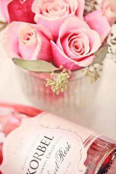 Korbel California Champagne and roses