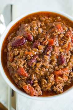 A big bowl of classic beef chili.