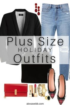 Plus Size Preppy Holiday Outfits with black blazer, velvet camisole, plaid flats, and Mom jeans for Christmas - Alexa Webb #plussize #alexawebb