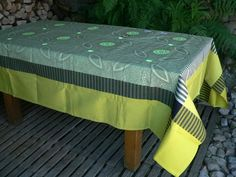 "Le Jacquard Francais tablecloth BAMAKO 69""X 98"" EUCALYPTUS #lejacquardfrancais"