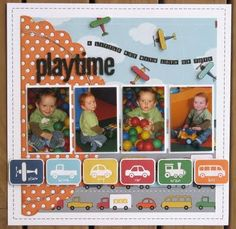 Playtime..boy themed page. LOVE the little airplanes