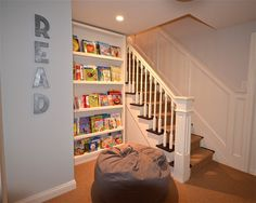 Book shelves reading nook