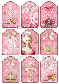 Digital Collage Sheet - Queen Marie Antoinette de France - 9 Paris French gift tags - flower - fleur de lis -Printable download image 911