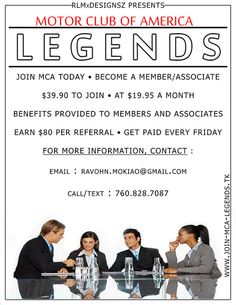 MCA-Legends NOW RECRUITING AGENTS (Building a strong team) By Ravohn Mokiao     make $80 per sale with mca