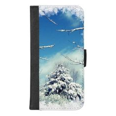 Tree in  Winter Snow iPhone 8/7 Plus Wallet Case - blue gifts style giftidea diy cyo