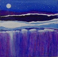 "Contemporary Abstract Landscape Painting- ""MOONLIGHT X""- by artist Cristina Del Sol"
