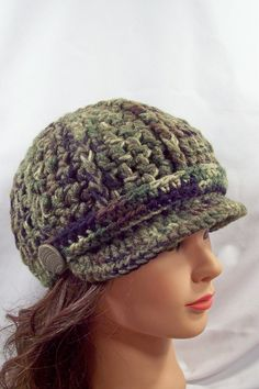 womens crocheted hat ladies crocheted hat newsboy camo army hats for girls green olive green brim band buttons youth to adult 6379. $35.00, via Etsy.