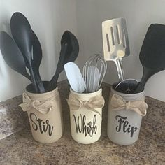 Forks Knives Spoons Holder Utensil Holder Rustic Home Decor Colored Mason Jars, Painted Mason Jars, Rustic Decor, Farmhouse Decor, Farmhouse Table, Rustic Planters, Mason Jar Bathroom, Mason Jar Flowers, Jar Centerpieces