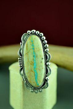 Navajo Royston Blue Ribbon Turquoise Ring Size 8